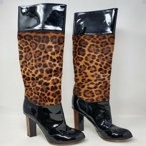 Dolce & Gabbana Leather Leopard Mid Calf Boots 8